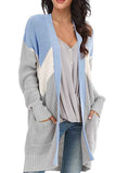 Long Sleeve Drop Shoulder Pocket Long Cardigan Blue
