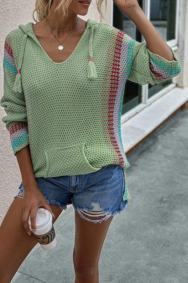 Long Sleeve Color Block V Neck Pocket Hood Sweater Green