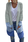 Loose Long Sleeve Color Block Pocket Long Cardigan Light Blue