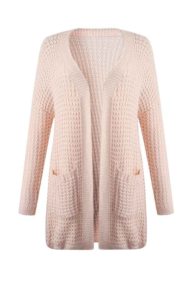 Casual Solid Long Sleeve Drop Shoulder Long Cardigan Pink