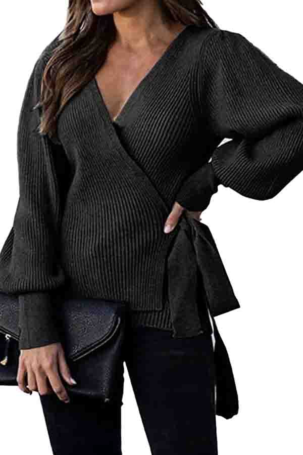 Casual Wrap Ribbed Oversized Sweater Black