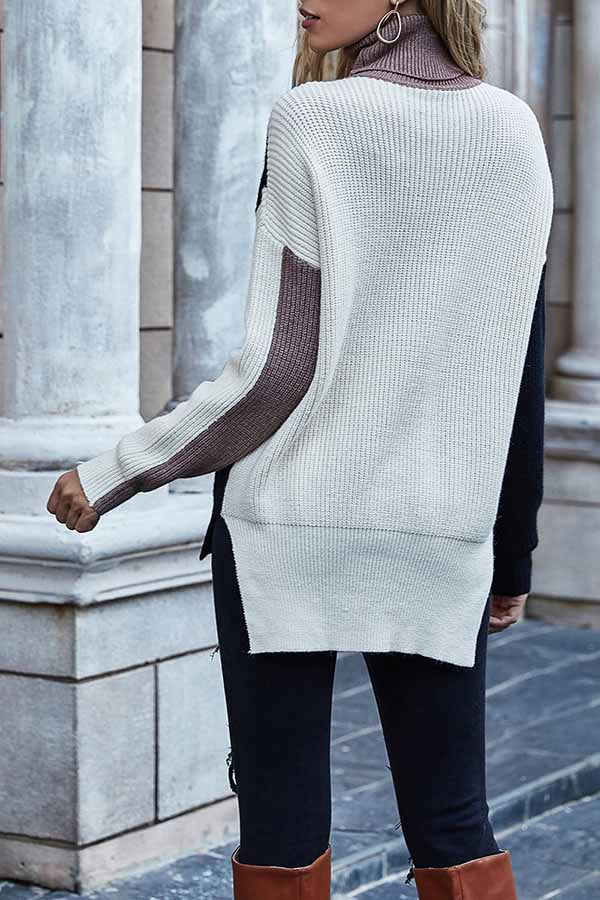 Turtleneck Color Block Cable Sweater Black