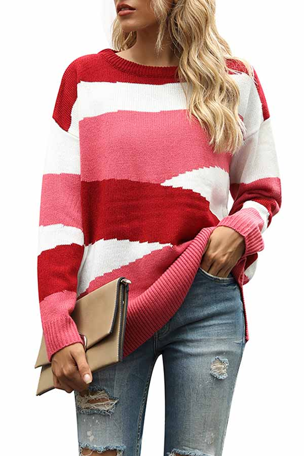 Drop Shoulder Color Block Slit Oversized Sweater Rose Red