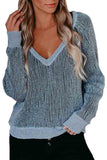 Sexy V Neck Long Raglan Sleeve Pullover Sweater Blue