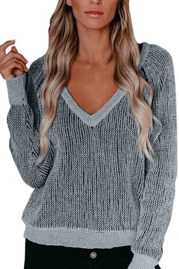 Casual Deep V Neck Long Sleeve Pullover Sweater Grey