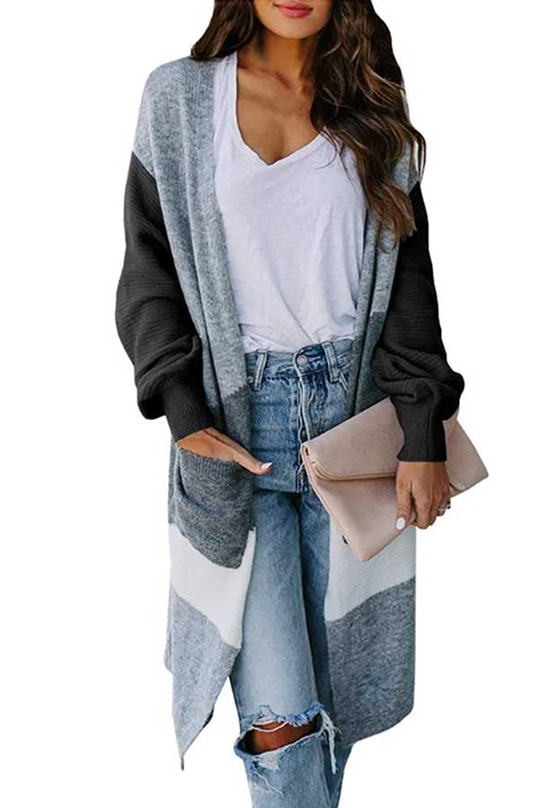 Open Front Long Sleeve Color Block Long Cardigan Dark Grey