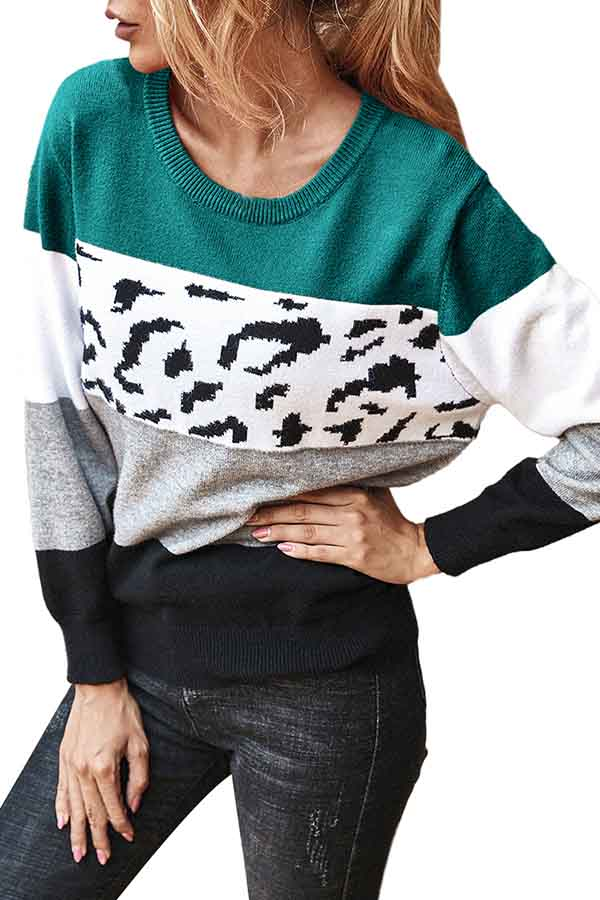 Long Sleeve Crew Neck Color Block Pullover Sweater Turquoise