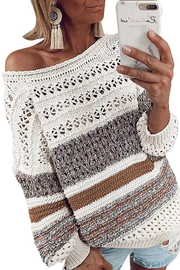Off Shoulder Cut Out Crochet Sweater Ginger