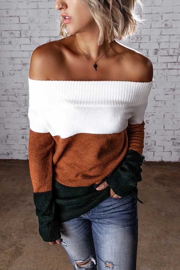 Off Shoulder Long Sleeve Color Block Sweater Coffee