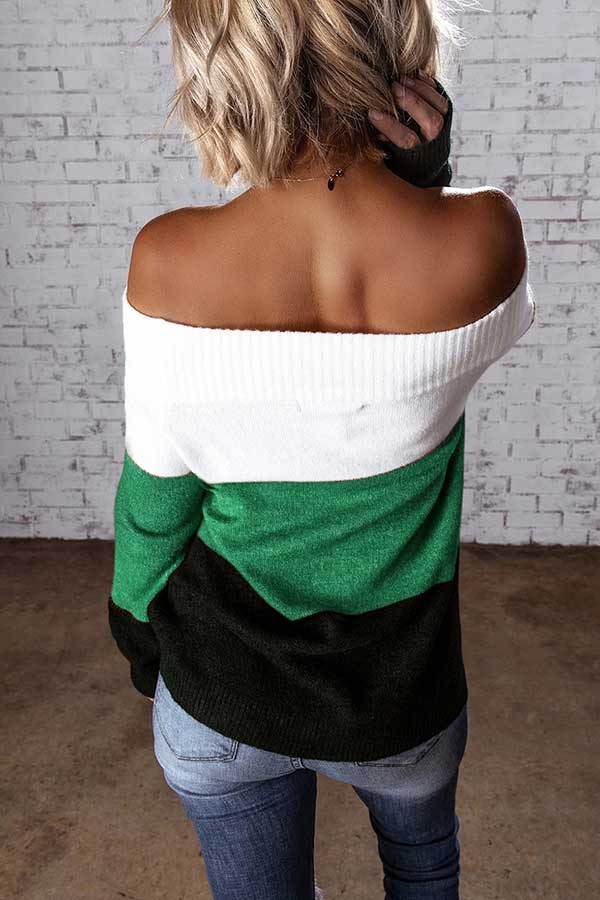 Long Sleeve Color Block Off Shoulder Sweater Green