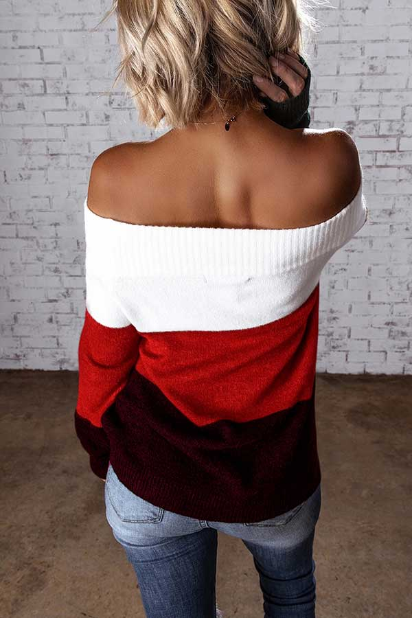 Off Shoulder Ribbed Striped Sweater Tangerine