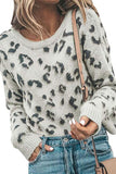 Casual Drop Shoulder Leopard Print Sweater Gray
