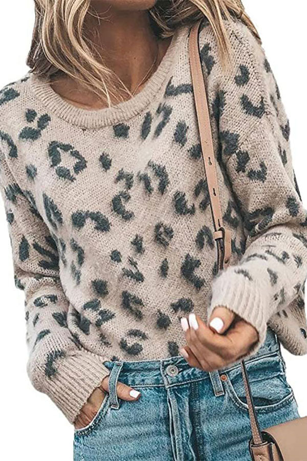 Long Sleeve Leopard Print Pullover Sweater Khaki