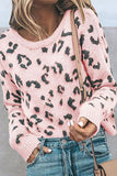 Drop Shoulder Leopard Print Sweater Pink