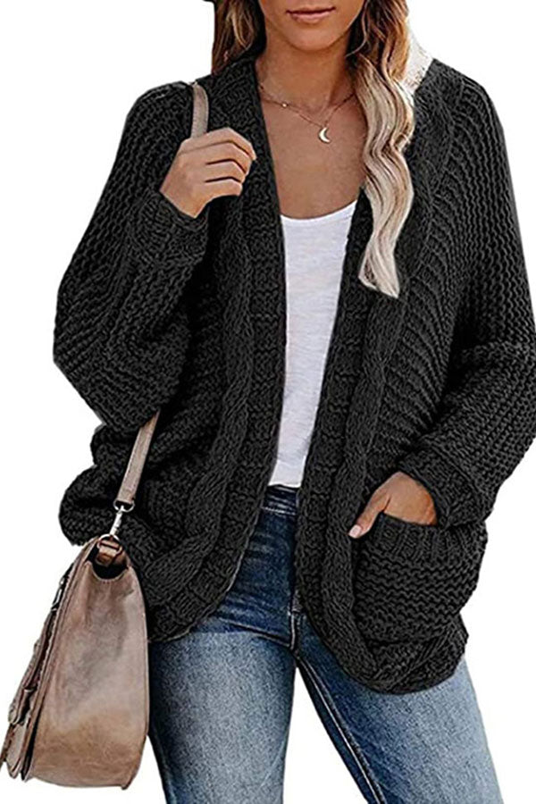 Dolman Sleeve Chunky Open Front Cardigan Sweater Black
