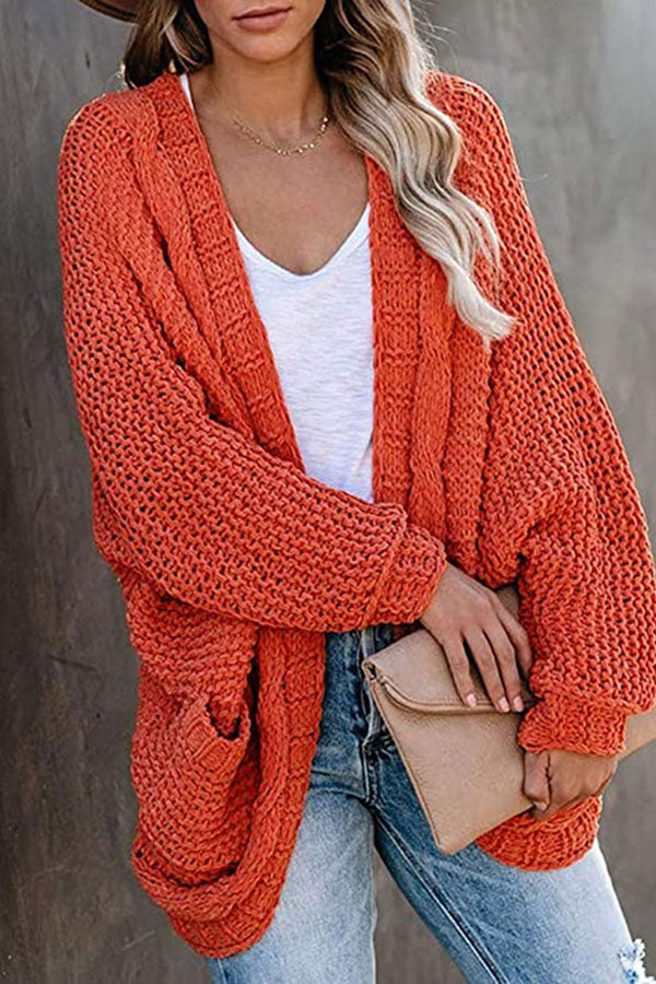 Open Front Chunky Big Pocket Oversized Cardigan Tangerine