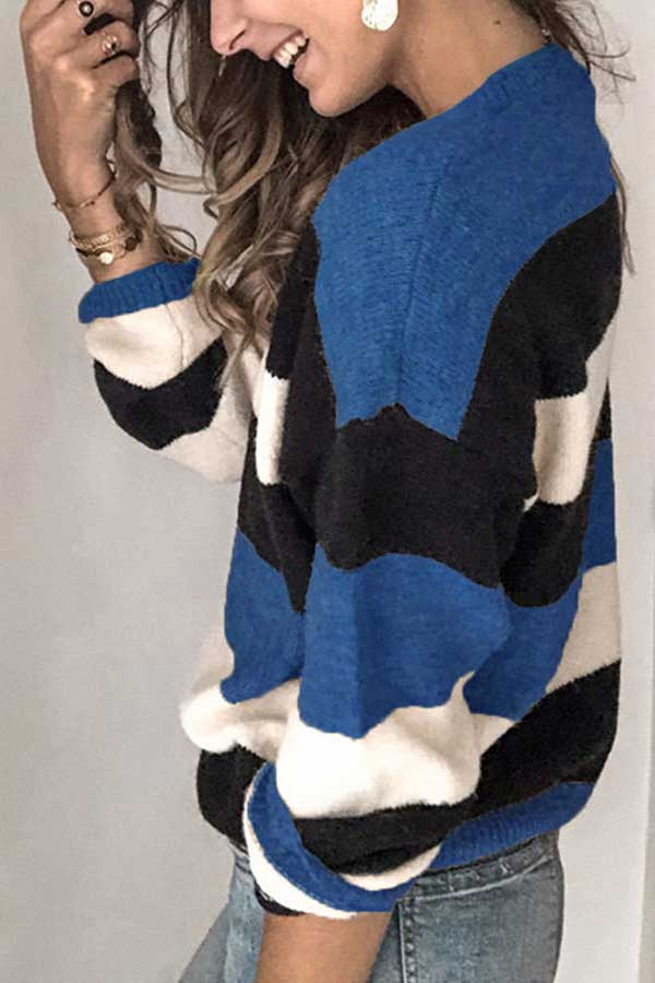 Crew Neck Color Block Oversized Sweater Blue