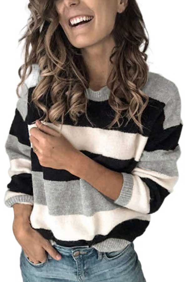 Casual Long Sleeve Striped Crew Neck Sweater Gray