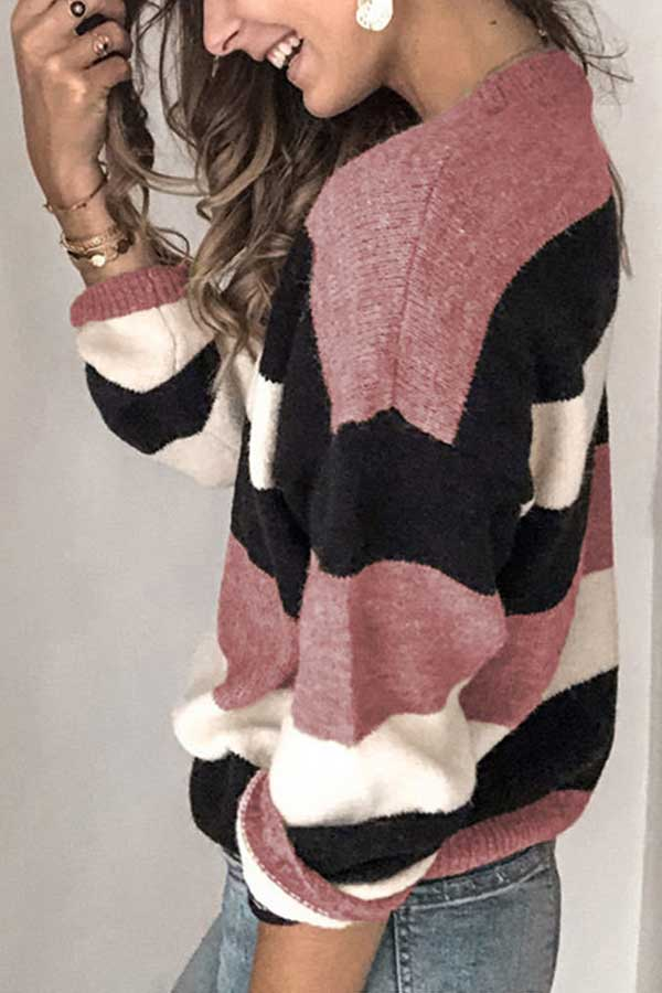 Drop Shoulder Striped Crew Neck Pink Sweater
