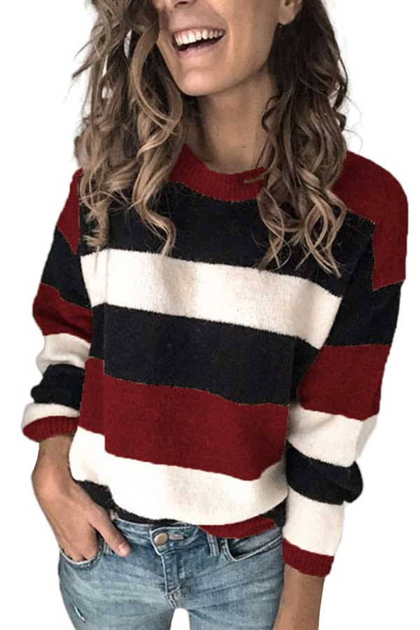 Crew Neck Drop Shoulder Women Sweater Ruby