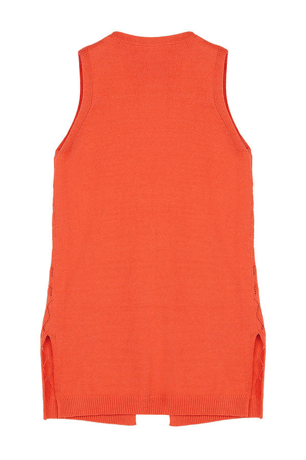 Solid Casual Open Front Sleeveless Long Cardigan Tangerine
