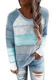 Hollow Out Crew Neck Long Sleeve Color Block Plus Size Sweater Blue