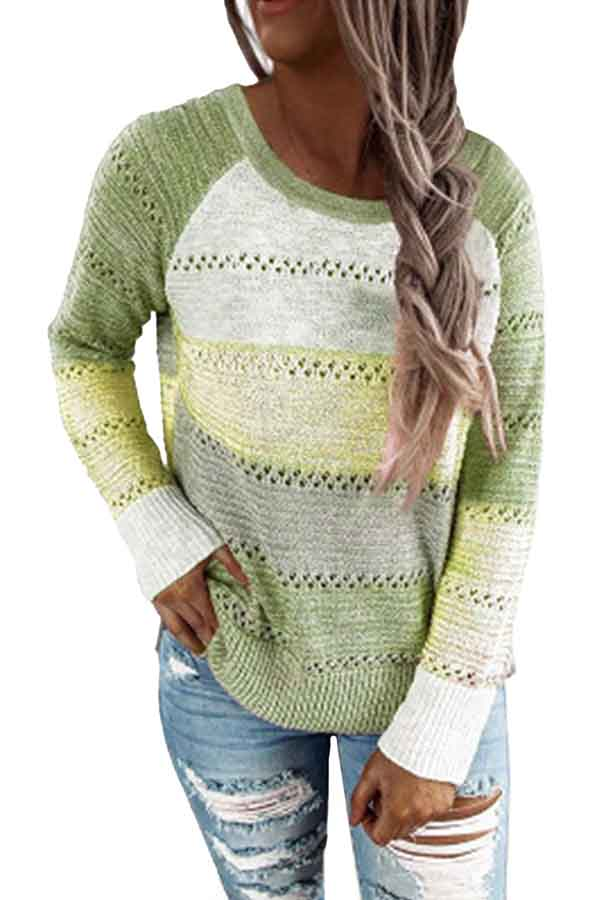Plus Size Crochet Color Block Crew Neck Sweaters For Women Green