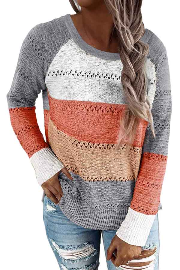Casual Long Sleeve Crew Neck Color Block Plus Size Sweater Grey