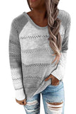 Patchwork Long Sleeve Casual Plus Size Pullover Sweater Light Grey