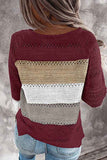 Color Block Long Sleeve Crew Neck Plus Size Sweater Ruby