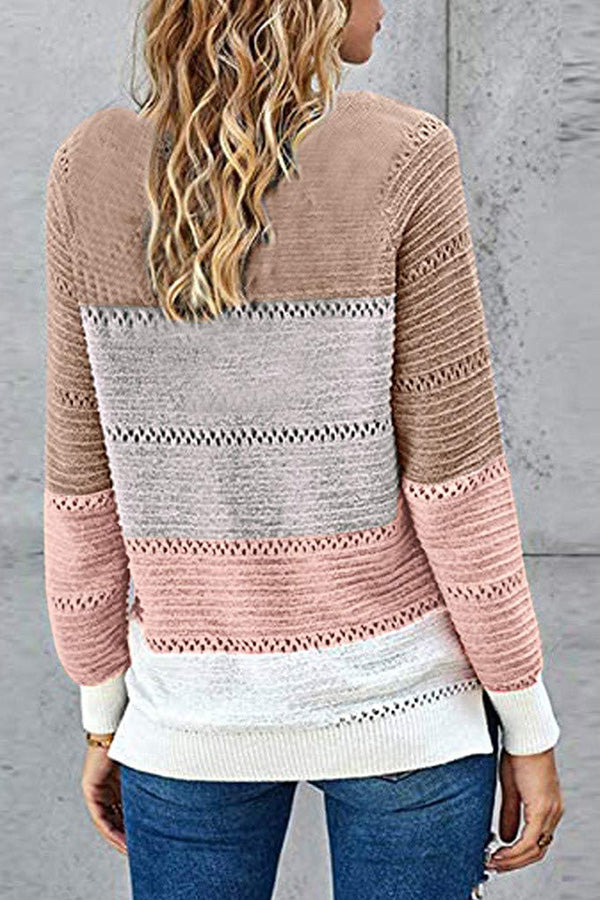 Long Sleeve Color Block Hollow Out Womens Sweater Khaki