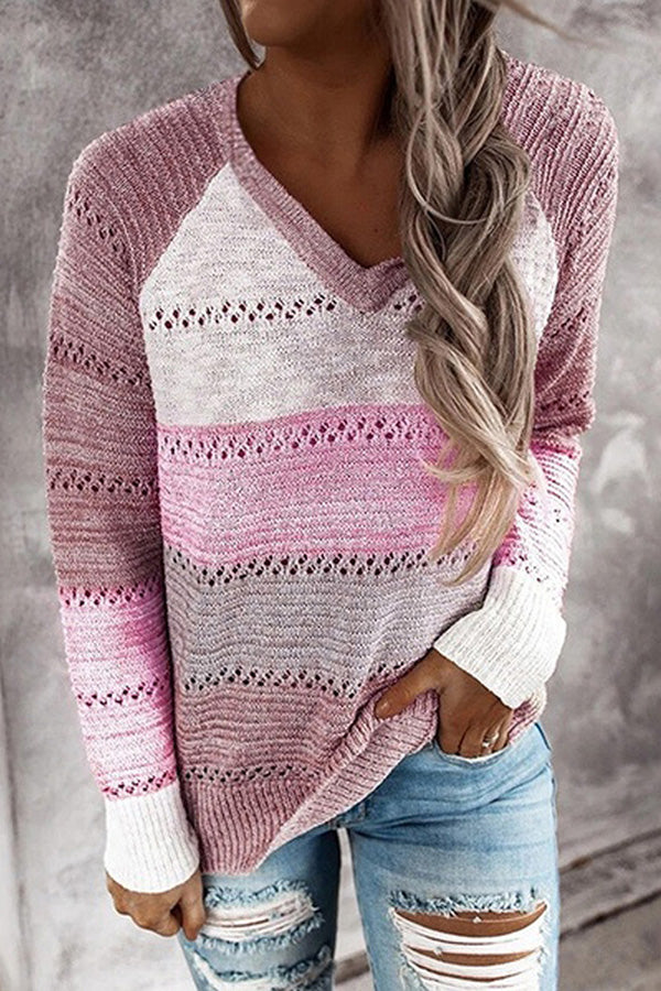 Color Block V Neck Pullover Womens Sweater Pink