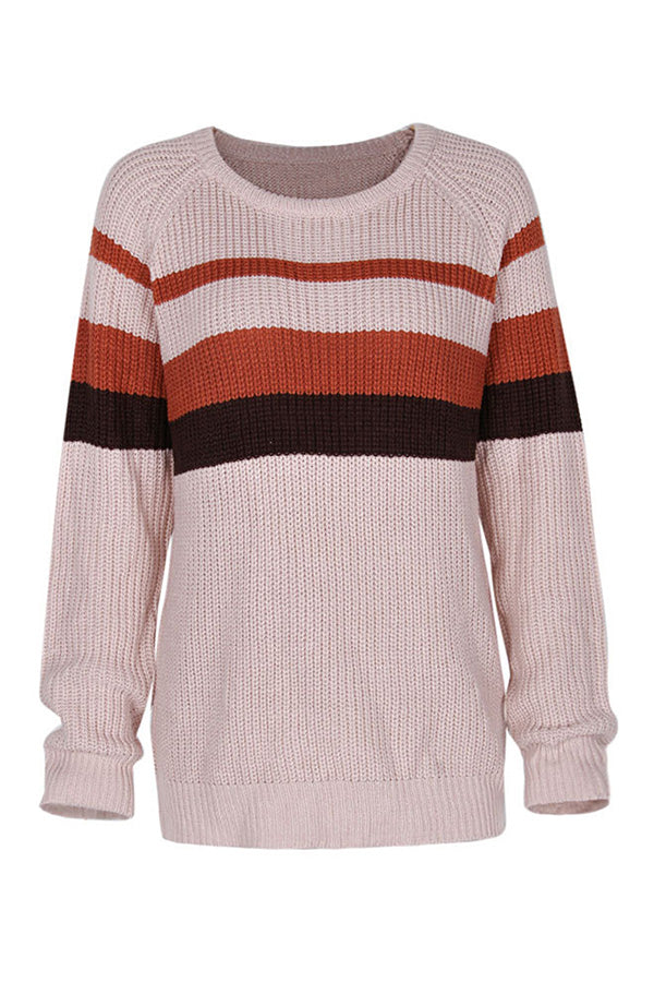 Long Sleeve Crew Neck Color Block Sweater Khaki