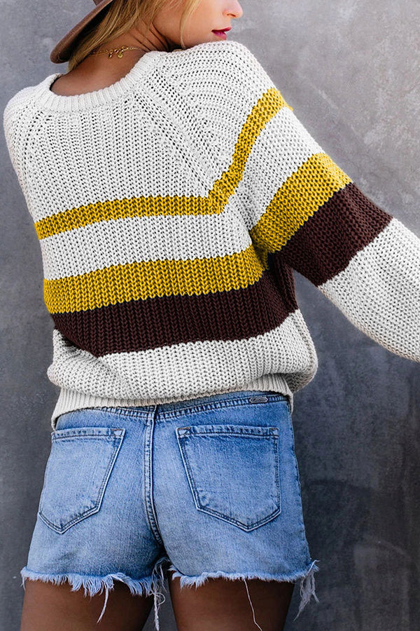 Crew Neck Long Sleeve Stripes Pullover Sweater White