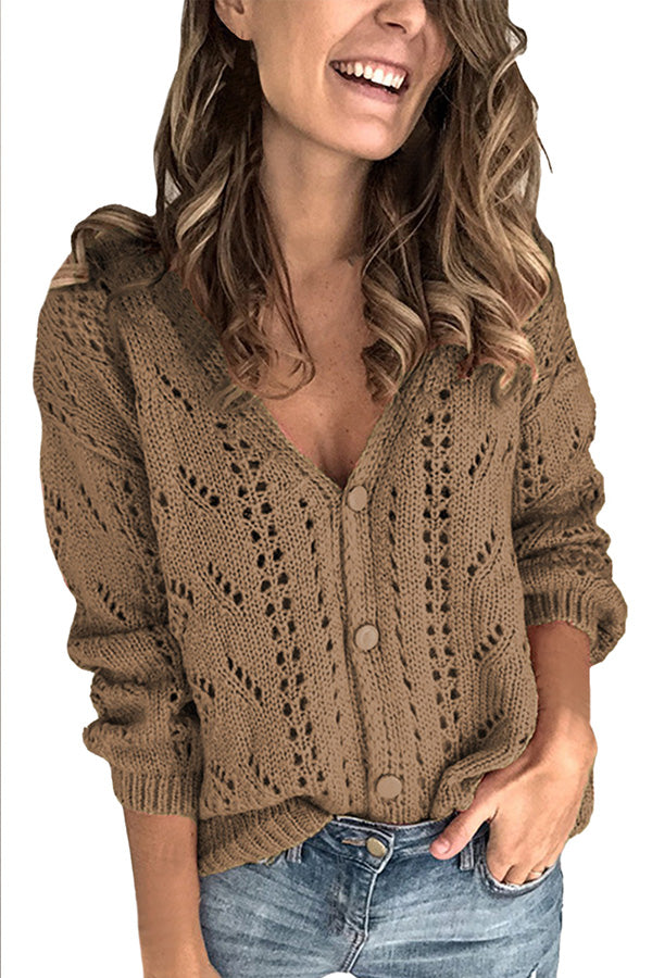 Solid V Neck Button Front Womens Sweater Brown