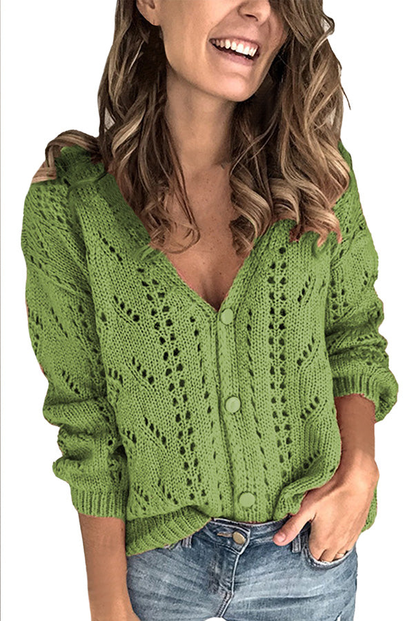 Long Sleeve V Neck Button Front Knit Sweater Oliver Green
