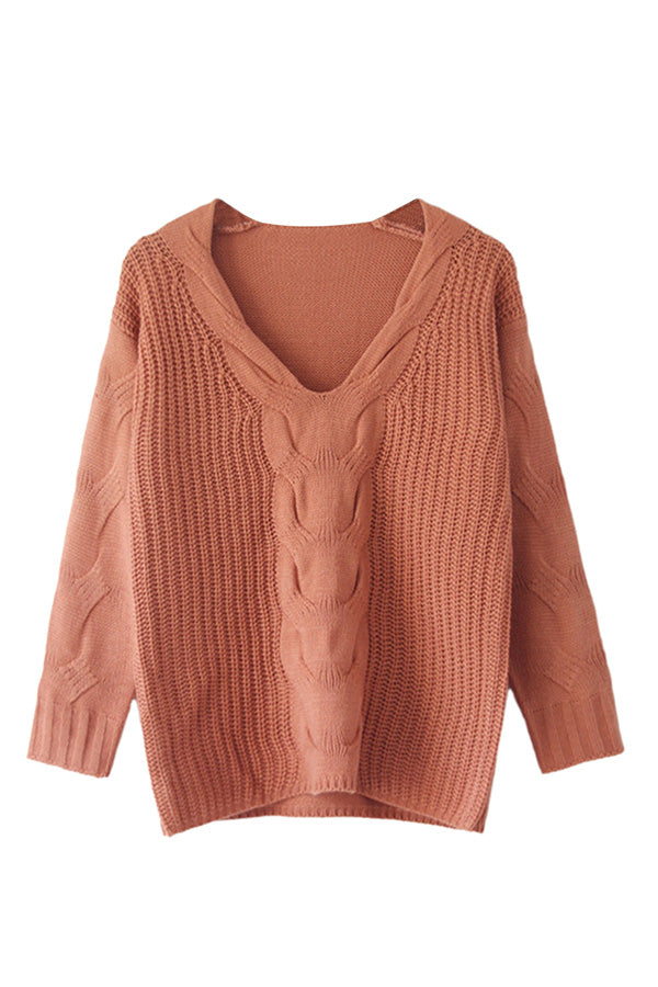 One Shoulder Long Sleeve Cable Knit Sweater Pink