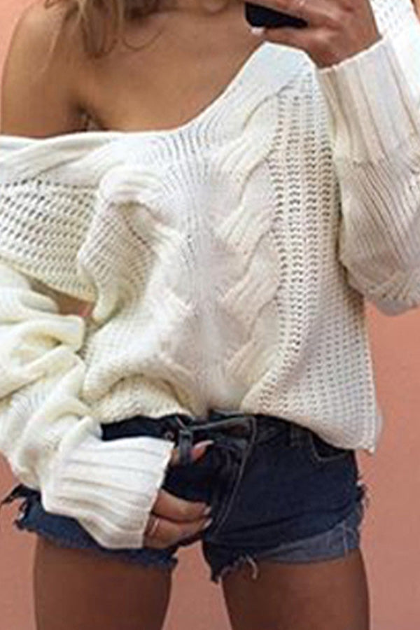 V Neck Long Sleeve Cable Knit Womens Sweater White