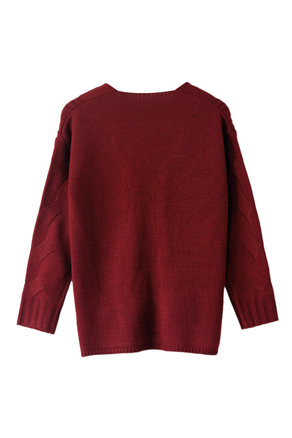 Casual Plain Long Sleeve One Shoulder Sweater Ruby