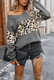 Long Sleeve V Neck Leopard Pullover Sweater Grey