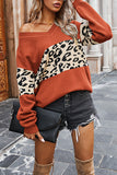 Casual One Shoulder Leopard Print Womens Sweater Tangerine