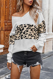 Sexy V Neck Leopard Pullover Womens Sweater White