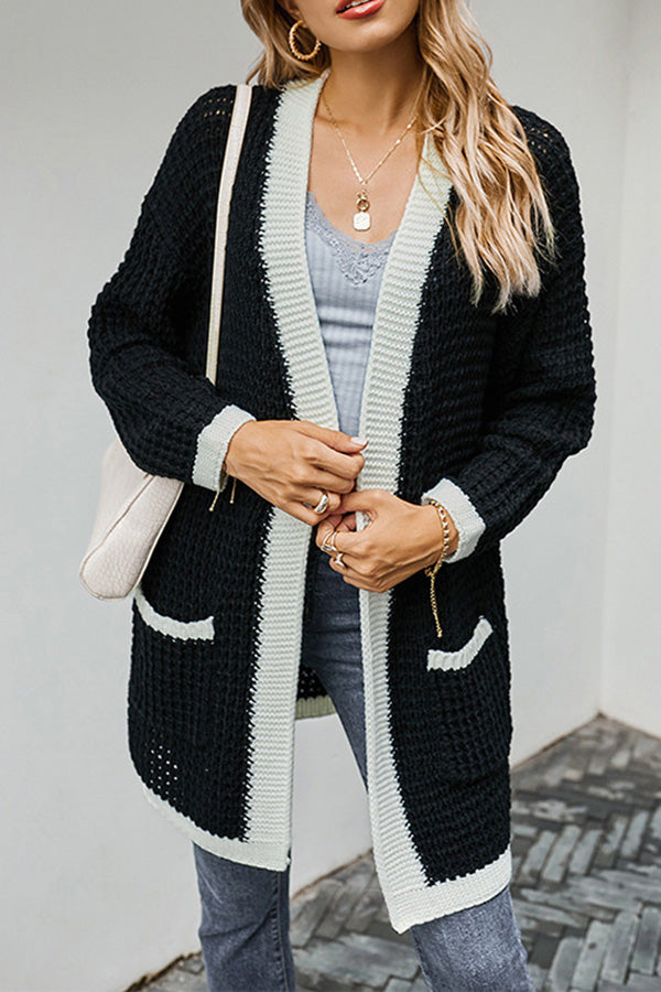 Color Block Open Front Cardigan Sweater With Pocket