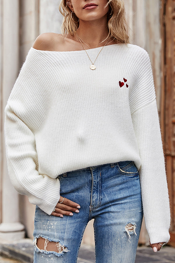 Boat Neck Ribbed Knit Pullover Sweater White