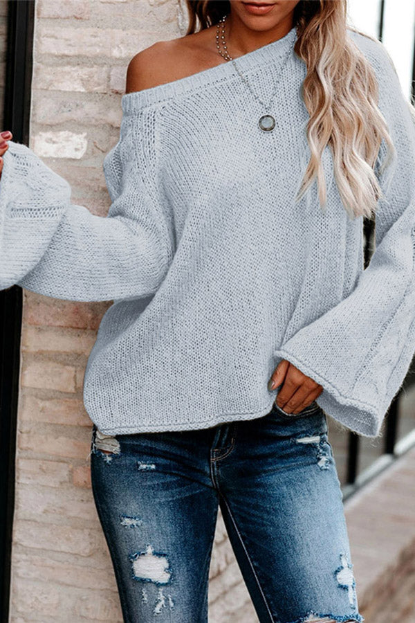 Solid Bell Sleeve Cable Knit Crew Neck Sweater