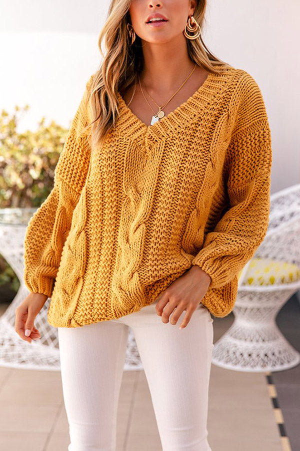 V Neck Oversized Chunky Knit Sweater