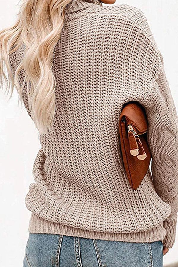 Women Turtleneck Chunky Oversized Sweater Apricot