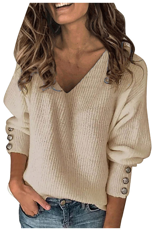 Warm Oversized V Neck Long Sleeve Sweater