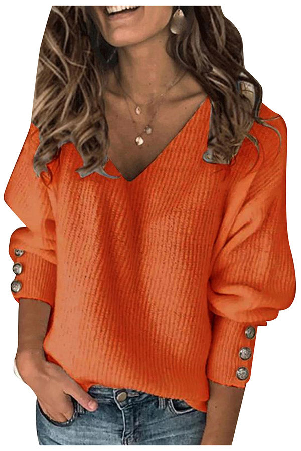 V Neck Loose Slouchy Oversized Ribbed Knitted Sweater