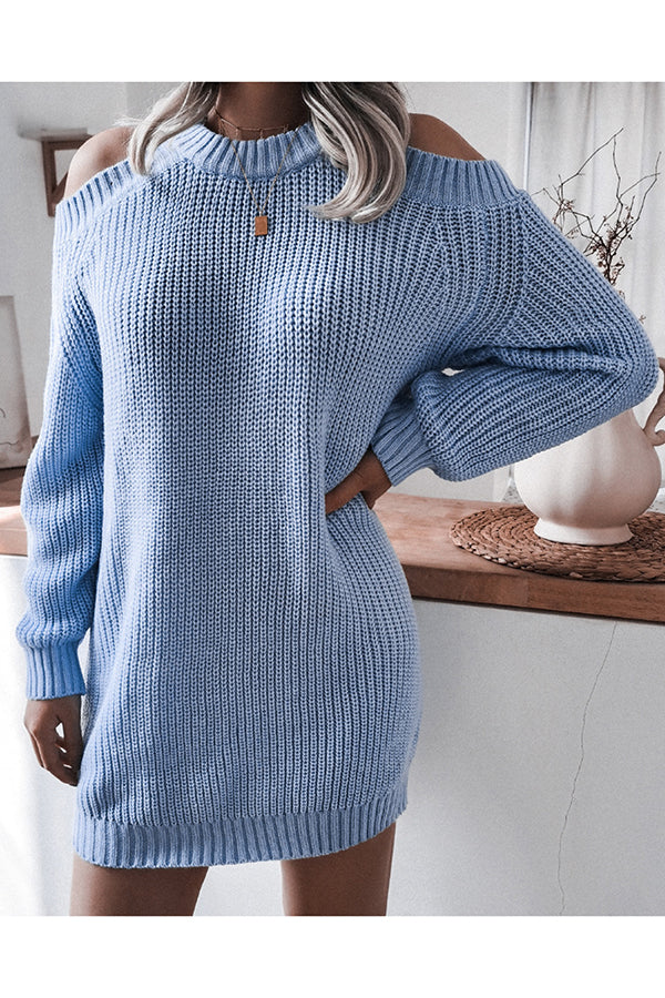 Solid Long Sleeve Cold Shoulder Jumper Dress For Womens